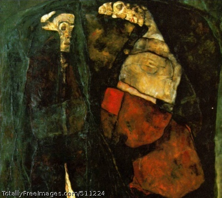Pregnant Woman and Death 1911, oil on canvas, National Gallery, Prague (82 Kb)