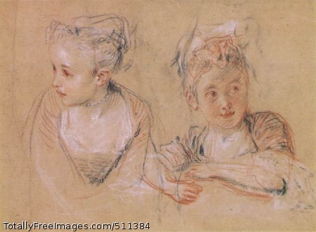 Two Studies of the Head and Shoulders of a Little Girl c. 1716-17; Red, black and white chalks on buff paper, 18.7 x 24.4 cm; Pierpont Morgan Library, New York