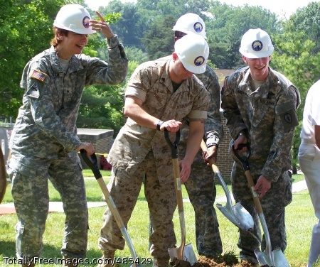 National Intrepid Brig. Gen. Loree K. Sutton (left), director of the DOD Center of Excellence for Psychological Health and Traumatic Brain Injury, joins wounded warriors, including Spc. Freddy Meyers (far right) to break ground for the National Intrepid Center of Excellence for Psychological Health and TBI at Bethesda National Naval Medical Center, Md., June 5. Photo Credit: Jun 5, 2008