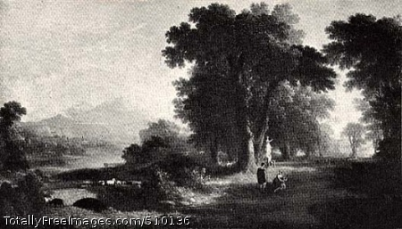 The Morning of Life A landscape featuring an arched stone bridge over a river on the left, and on the right a small group of figures standing in a clearing of a wooded area, Just beyond is a white stone statue of a female, with more figures clustered around her, and in the distance the columned white portico of a house visible amid the trees. Artist: Durand, Asher B., 1796-1886, painter. Medium: Oil on canvas. Smithsonian Control Number: IAP 36270240