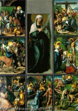 The Seven Sorrows of the Virgin c. 1496-97 (200 kB); Oil on panel, Central panel 109 x 43 cm; Alte Pinakothek, Munich; Side panels 63 x 46 cm; Gemaldegalerie Alte Meister, Dresden