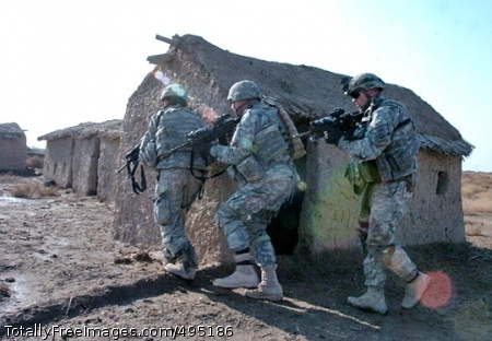 Army Destroys Soldiers prepare to enter a series of small mud huts in the Tawillah region of Iraq. The 5th Squadron, 73rd Cavalry Regiment participated in an insurgent seek-and-capture-or-destroy mission that began Jan. 4 and lasted until Jan. 13. Photo Credit: Feb 1, 2007