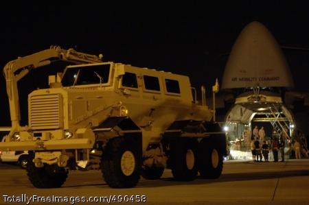 MRAP Vehicle U.S. Air Force airmen load a Mine Resistant Ambush Protected vehicle onto a C-5 Galaxy aircraft.  Photo Credit: Oct 19, 2007