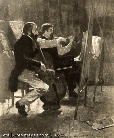The Studio In an artist's studio, a cellist and a violinist are seen practicing, their sheet music resting on easels in front of them. A piece of sheet music bearing the title W. A. Mozart rests on the floor nearby. Behind the musicians, paintings are propped up against the walls. Artist: Homer, Winslow, 1836-1910, painter. Medium: Oil on canvas. Smithsonian Control Number: IAP 36120444