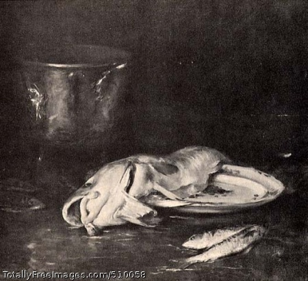 An English Cod Still life depicting a filleted cod fish draped across a ceramic plate, with two small fish resting nearby on the tabletop. In the background there is silver bucket. Artist: Chase, William Merritt, 1849-1916, painter. Medium: Oil on canvas. Smithsonian Control Number: IAP 08260252