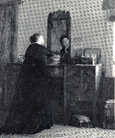 The Toilet Interior scene depicting a woman standing at her dresser, her head tilted slightly as she puts on an earring while looking in the mirror above her dresser. Artist: Johnson, Eastman, 1824-1906, painter. Medium: Oil on paper board. Smithsonian Control Number: IAP 08260177