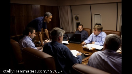 START 4 President Barack Obama is briefed by, from left,  NSC Chief of Staff Mark Lippert, Former U.S. Ambassador to Russia William J. Burns, Deputy National Security Advisor for Strategic Communications Ben Rhodes, NSC Senior Director for Russian Affairs Mike McFaul, and Deputy National Security Advisor for Strategic Communications Denis McDonough, in the Conference Room aboard Air Force One, during a flight to Moscow, Russia, July 5, 2009. (Official White House Photo by Pete Souza)
