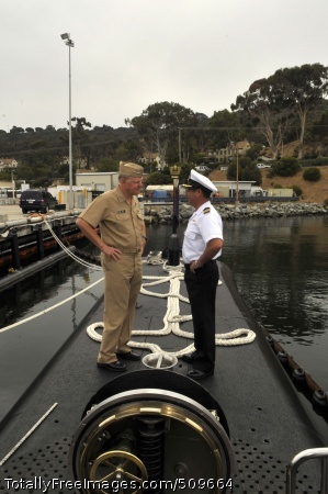 100916-N-3548M-429  SAN DIEGO (Sept. 16, 2010) Chief of Naval Operations (CNO) Adm. Gary Roughead speaks with Cmdr. Juan Pablo Zuniga Alvayay, the commanding officer of the Chilean navy diesel electric submarine CS Thomson (SS 20) during a visit to San Diego. (U.S. Navy photo by Mass Communication Specialist 2nd Class Kyle P. Malloy/Released)