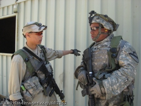 Sgt. Damion Trotter, a scout assigned to Troop B, 2nd Squadron, 7th Cavalry Regiment, 4th Brigade Combat Team, 1st Cavalry Division, collects information from during unit training at Joint Readiness Training Center.  Photo Credit: Mar 25, 2008