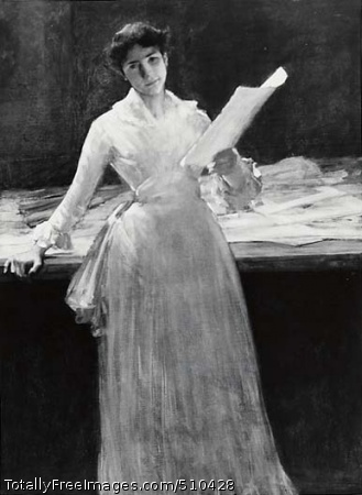 Woman in White Portrait of the artist's wife standing against a table in the artist's studio. She is wearing a long-sleeved white dress and holds a sheet of paper (a print or drawing) in her left hand while her right hand leans on the table. A hat, fan, and other papers are on the table. Artist: Chase, William Merritt, 1849-1916, painter. Medium: Oil on canvas. Smithsonian Control Number: IAP 38320023