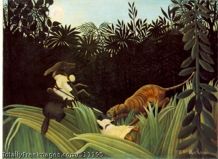 Eclaireur attaqué par un tigre (Scout Attacked by a Tiger) 1904 (130 Kb); Oil on canvas, 120.5 x 162 cm (47 3/8 x 63 3/4 in); The Barnes Foundation, Merion, Pennsylvania