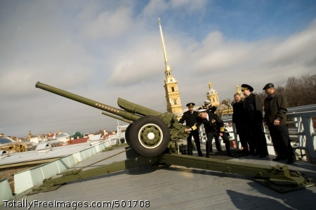 110417-N-ZB612-051 ST. PETERSBURG, Russia (April 17, 2011) Chief of Naval Operations (CNO) Adm. Gary Roughead fires the traditional noon cannon at the St. Peter and Paul fortress in St. Petersburg, Russia. (U.S. Navy photo by Chief Mass Communication Specialist Tiffini Jones Vanderwyst/Released)