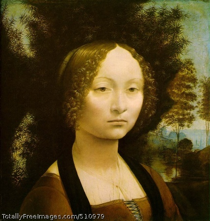 Ginevra de' Benci c. 1474 (150 Kb); Oil on wood, 38.2 x 36.7 cm (15 1/8 x 14 1/2 in); National Gallery of Art, Washington, DC