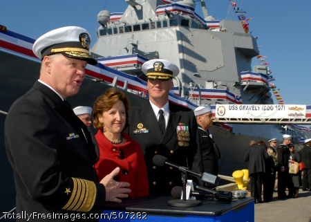 101120-N-3737T-229  WILMINGTON, N.C. (Nov. 20, 2010) Chief of Naval Operations, Adm. Gary Roughead, left, the Honorable Senator Kay Hagan, and Cmdr. Douglas Kunzman, commanding officer of the U.S. Navy's  newest guided missile destroyer, USS Gravely (DDG 107), answer questions following the ship's commissioning. The new destroyer honors the late Vice Adm. Samuel L. Gravely Jr., who was the first African American to command a warship, USS Theodore E. Chandler (DD 717); to command a major warship, USS Jouett (DLG/CG-29); to achieve flag rank and eventually vice admiral; and to command a numbered fleet, the U.S. 3rd Fleet. (U.S. Navy photo by Mass Communication Specialist 2nd Class Eric Tretter/Released)