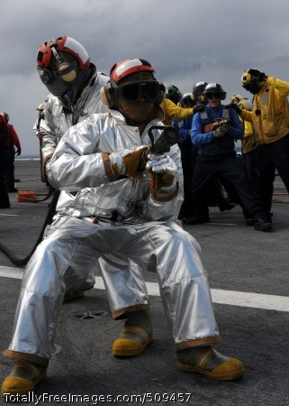 100925-N-5446H-024  ATLANTIC OCEAN (Sept. 25, 2010) Air department Sailors participate in a mass casualty training drill on the flight deck aboard the aircraft carrier USS George H.W. Bush (CVN 77). George H.W. Bush is conducting training operations in the Atlantic Ocean. (U.S. Navy photo by Naval Aircrewman 3rd Class Joshua K. Horton/Released)