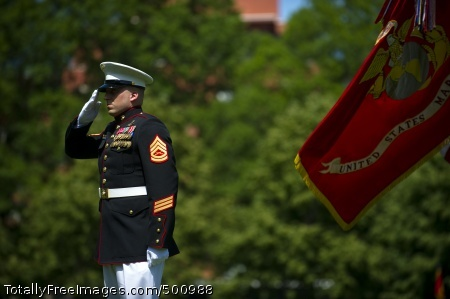 110510-N-UH963-150 WASHINGTON (May 10, 2011) Gunnery Sgt. Brian M. Blonder renders honors during the National Anthem before receiving the Navy Cross medal for his actions while serving as a platoon sergeant in Force Reconnaissance Platoon, 2nd Battalion, 7th Marine Regiment, Marine Corps Forces Central Command (Forward). (U.S. Navy photo by Mass Communication Specialist 2nd Class Kevin S. O'Brien/Released)
