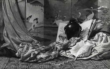 Japanese Still Life Still-life of Japanese objects, including a golden heron screen in the style of the Kano school, a shiny, black vase of the Meiji period, an album of paintings with a bonsai on the left page, a carpet, a shell, and draperies. Artist: Vedder, Elihu, 1836-1923, painter. Medium: Oil on canvas. Smithsonian Control Number: IAP 02960198