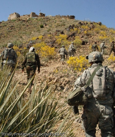 Spring Offensive Soldiers from Task Force Fury walk along the border with Pakistan in Khowst Province. Photo Credit: Apr 2, 2007